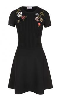 Приталенное мини-платье с цветочной вышивкой REDVALENTINO