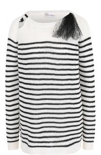 Удлиненный пуловер в полоску с бантом REDVALENTINO