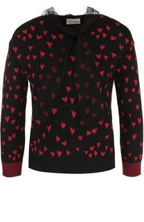 Пуловер с принтом в виде сердец и бантом REDVALENTINO