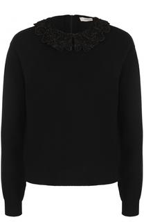 Кашемировый пуловер с декорированным воротником Valentino