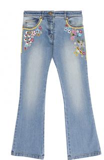 Расклешенные джинсы с вышивкой и бисером Ermanno Scervino