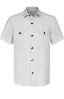 Льняная рубашка с короткими рукавами Stone Island