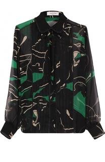 Шелковая полупрозрачная блуза с принтом Valentino