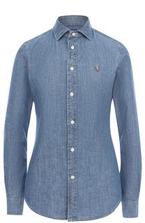 Приталенная джинсовая блуза с вышитым логотипом бренда Polo Ralph Lauren