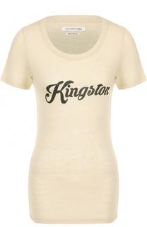 Шелковая приталенная футболка с надписью Isabel Marant Etoile