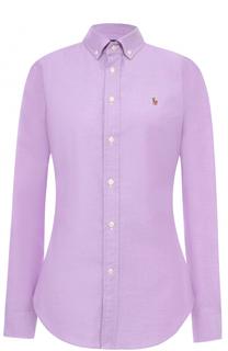 Приталенная блуза с вышитым логотипом бренда Polo Ralph Lauren