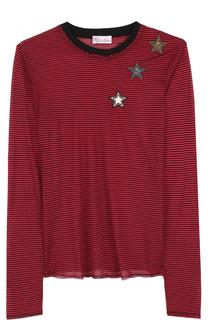 Пуловер в полоску с нашивками в виде звезд REDVALENTINO