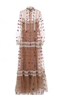 Шелковое платье в пол фактурной отделкой Valentino