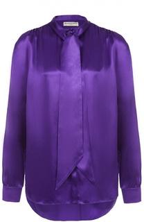 Шелковая блуза прямого кроя с воротником аскот Balenciaga