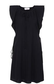 Мини-платье прямого кроя с оборками Chloé