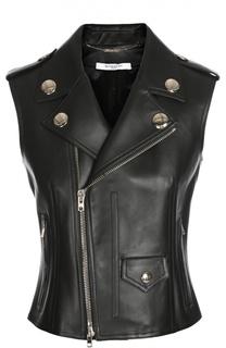 Кожаный приталенный жилет с косой молнией и заклепками Givenchy