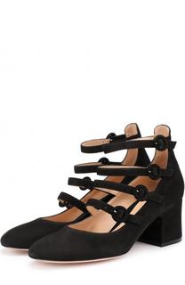 Замшевые туфли с ремешками Gianvito Rossi