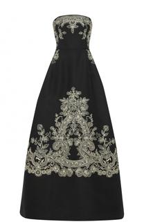 Шелковое платье-бюстье с контрастной вышивкой Oscar de la Renta