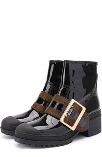Лаковые ботинки с широким ремешком Burberry