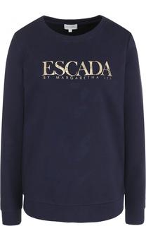 Свитшот прямого кроя с контрастной надписью Escada Sport