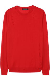 Джемпер из смеси шерсти и шелка с декоративными потертостями Alexander McQueen