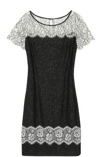 Платье с кружевными вставками и пайетками St. John