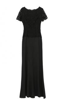 Приталенное платье-макси с кружевным лифом St. John