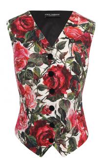 Приталенный жилет с цветочным принтом Dolce & Gabbana