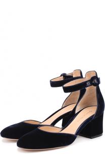 Бархатные туфли Greta с ремешком на щиколотке Gianvito Rossi