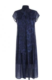 Платье свободного кроя с принтом и воротником аскот Escada Sport