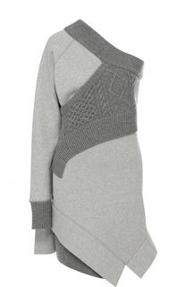 Вязаное мини-платье с открытым плечом Burberry