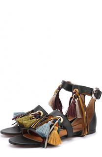 Кожаные сандалии с кисточками Chloé