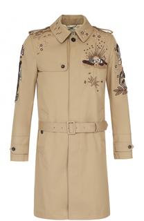 Однобортное хлопковое пальто прямого кроя с поясом и вышивкой Valentino