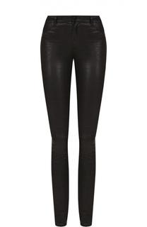 Кожаные брюки-скинни с декоративными молниями J Brand