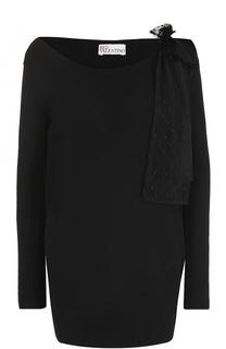 Удлиненный пуловер фактурной вязки с бантом REDVALENTINO