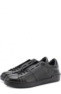 Кожаные кеды на шнуровке Valentino