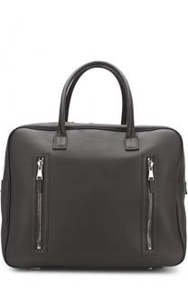 Кожаная сумка с внешними карманами на молнии Pal Zileri