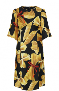 Шелковое мини-платье с коротким рукавом и принтом Dolce & Gabbana