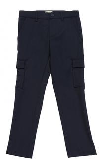 Шерстяные брюки прямого кроя с накладными карманами Kenzo