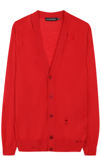 Кардиган из смеси шерсти и шелка с декоративными потертостями Alexander McQueen
