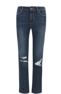 Укороченные расклешенные джинсы с потертостями Paige