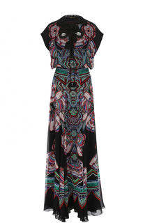 Шелковое платье-макси с ярким принтом Roberto Cavalli