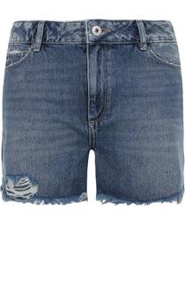 Джинсовые мини-шорты с потертостями Paige