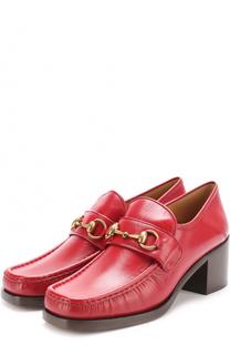 Кожаные лоферы Vegas на массивном каблуке Gucci