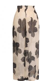 Широкие брюки с эластичным поясом и цветочным принтом Forte_forte