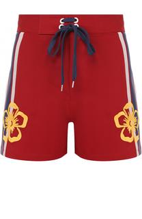 Хлопковые мини-шорты с контрастной вышивкой REDVALENTINO
