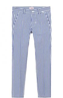 Хлопковые брюки прямого кроя в полоску Il Gufo