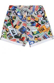 Хлопковые шорты с принтом и отворотами Kenzo
