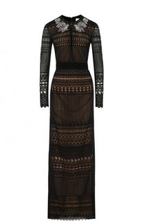 Кружевное платье-макси с длинным рукавом Zuhair Murad