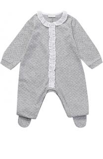 Хлопковая пижама с принтом и отделкой из рюш Il Gufo