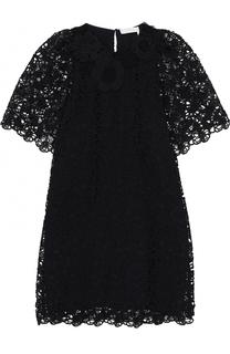 Кружевное мини-платье прямого кроя Chloé