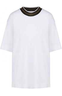 Хлопковая футболка свободного кроя с контрастной отделкой Marni