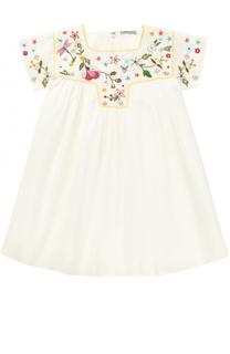 Хлопковое мини-платье свободного кроя с вышивкой бисером Ermanno Scervino