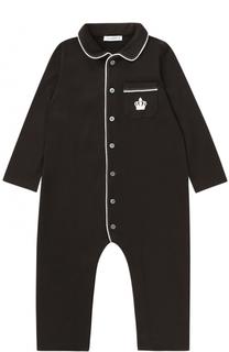 Хлопковая пижама с контрастной отделкой Dolce & Gabbana