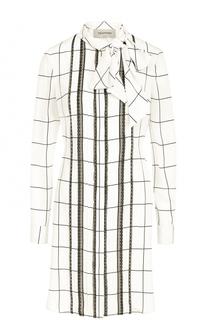 Шелковое платье в клетку с воротником аскот Valentino